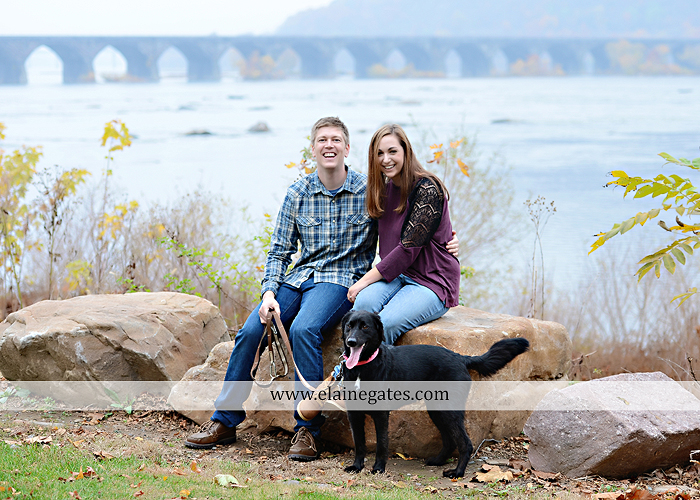 Mechanicsburg Central PA engagement portrait photographer outdoor water river trees leaves rocks dog path pumpkins covered bridge steps stone barn kiss kg 05