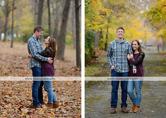 Mechanicsburg Central PA engagement portrait photographer outdoor water river trees leaves rocks dog path pumpkins covered bridge steps stone barn kiss kg 06