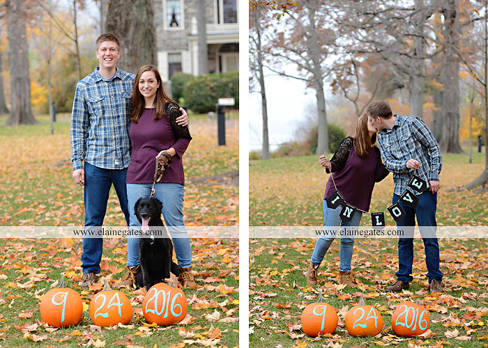 Mechanicsburg Central PA engagement portrait photographer outdoor water river trees leaves rocks dog path pumpkins covered bridge steps stone barn kiss kg 07