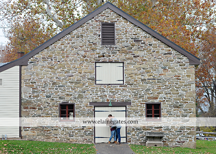 Mechanicsburg Central PA engagement portrait photographer outdoor water river trees leaves rocks dog path pumpkins covered bridge steps stone barn kiss kg 10