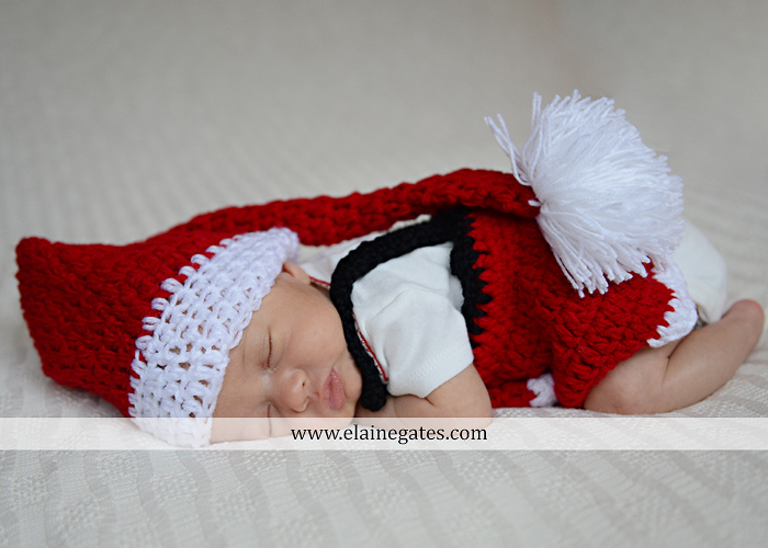 Mechanicsburg Central PA newborn baby portrait photographer girl sleeping indoor blanket bow knit hat mother father bowl basket tutu je 3