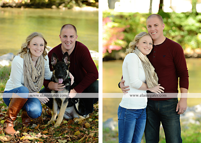 Mechanicsburg Central PA portrait photographer maternity outdoor leaves water stream creek dog pumpkin covered bridge path woods trees kiss expecting mc 1