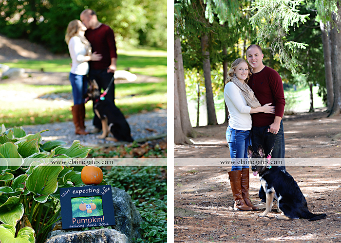 Mechanicsburg Central PA portrait photographer maternity outdoor leaves water stream creek dog pumpkin covered bridge path woods trees kiss expecting mc 5