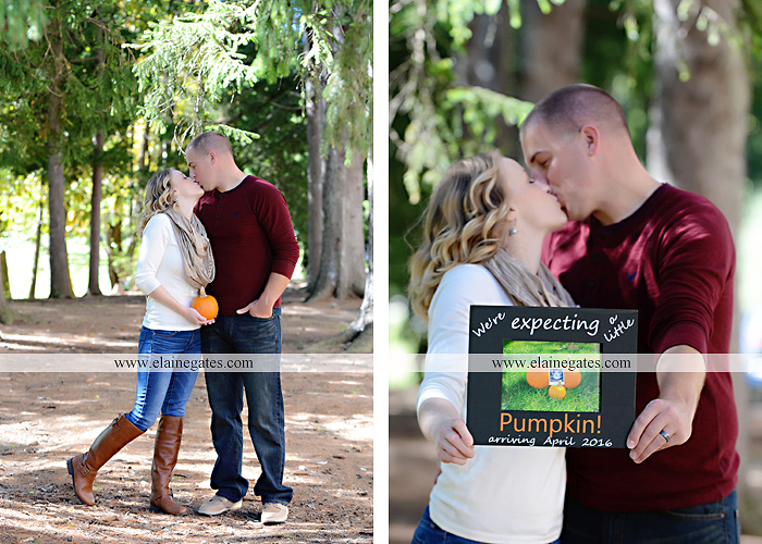 Mechanicsburg Central PA portrait photographer maternity outdoor leaves water stream creek dog pumpkin covered bridge path woods trees kiss expecting mc 6