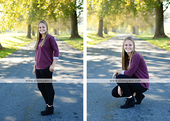 Mechanicsburg Central PA senior portrait photographer outdoor girl female road trees field water stream creek fall fence kg 2