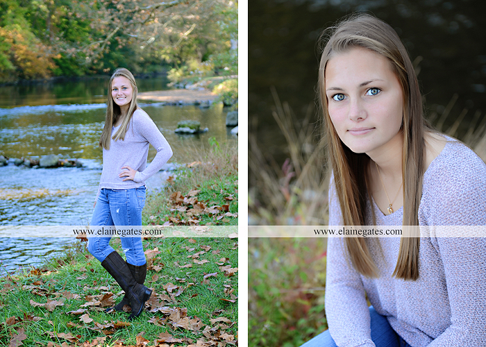 Mechanicsburg Central PA senior portrait photographer outdoor girl female road trees field water stream creek fall fence kg 6