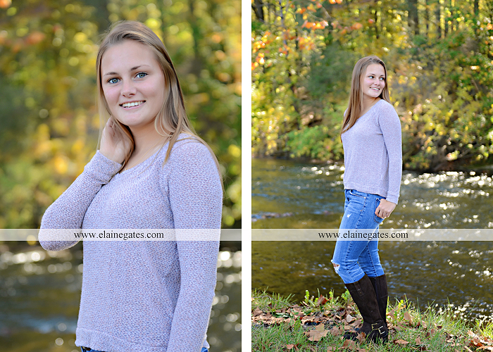 Mechanicsburg Central PA senior portrait photographer outdoor girl female road trees field water stream creek fall fence kg 8