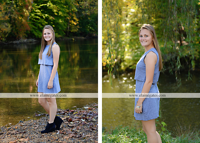 Mechanicsburg Central PA senior portrait photographer outdoor girl female road trees field water stream creek fall fence kg 9