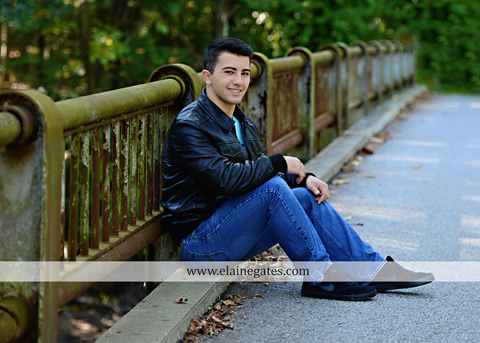 Mechanicsburg Central PA senior portrait photographer outdoor studio formal male guy bridge road trees water stream creek covered bridge wooden beams messiah college path va 2