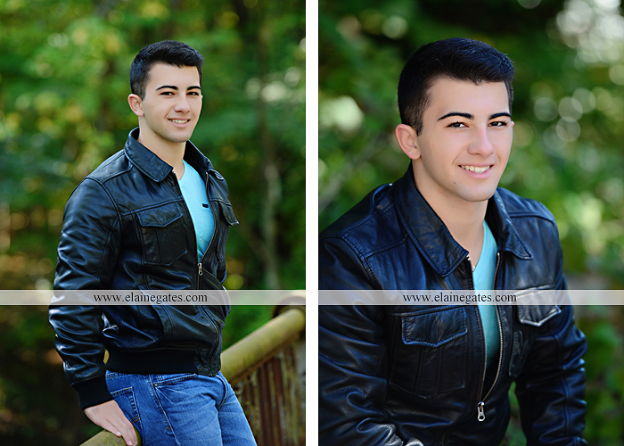 Mechanicsburg Central PA senior portrait photographer outdoor studio formal male guy bridge road trees water stream creek covered bridge wooden beams messiah college path va 3