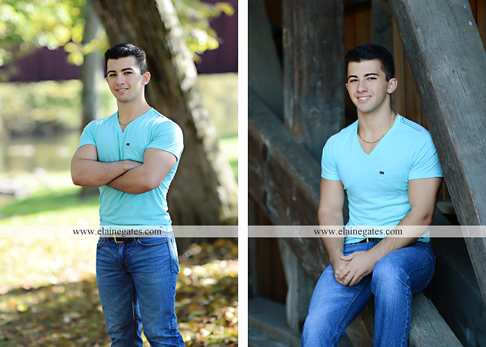 Mechanicsburg Central PA senior portrait photographer outdoor studio formal male guy bridge road trees water stream creek covered bridge wooden beams messiah college path va 5
