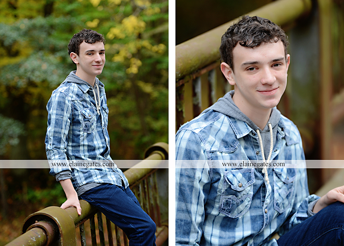 Mechanicsburg Central PA senior portrait photographer outdoor studio formal male guy violin rustic bridge grass trees covered bridge messiah college wooden beams jb 3