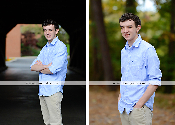 Mechanicsburg Central PA senior portrait photographer outdoor studio formal male guy violin rustic bridge grass trees covered bridge messiah college wooden beams jb 6