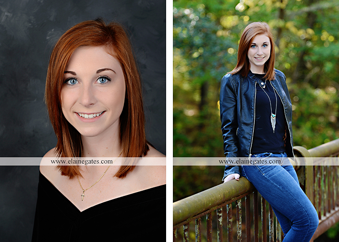 Mechanicsburg Central PA senior portrait photographer outdoor girl female formal rustic bridge stone brick wall road trees covered bridge messiah college wooden beams water stream creek leaves zm 01