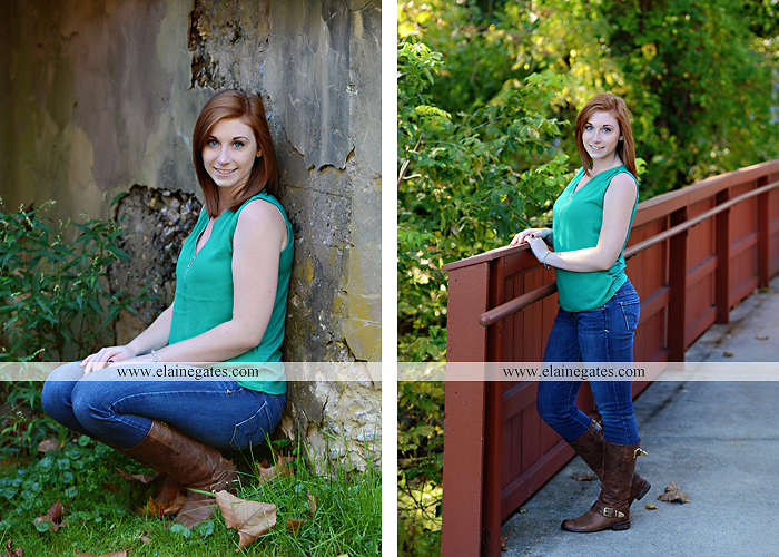 Mechanicsburg Central PA senior portrait photographer outdoor girl female formal rustic bridge stone brick wall road trees covered bridge messiah college wooden beams water stream creek leaves zm 07