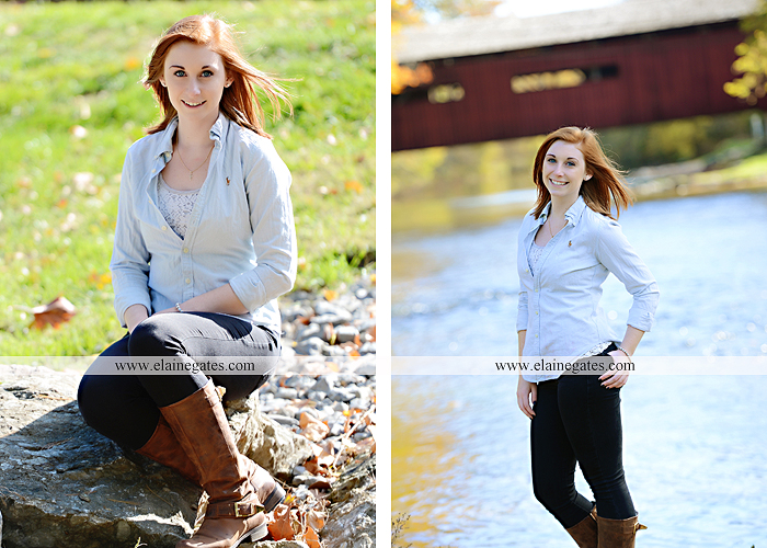 Mechanicsburg Central PA senior portrait photographer outdoor girl female formal rustic bridge stone brick wall road trees covered bridge messiah college wooden beams water stream creek leaves zm 14