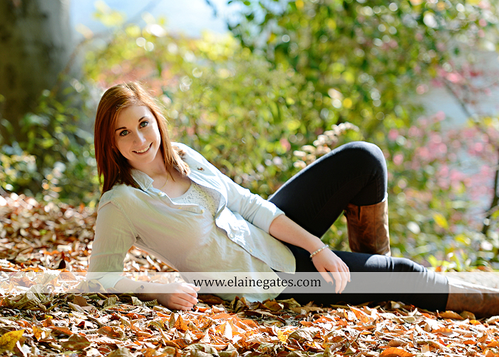 Mechanicsburg Central PA senior portrait photographer outdoor girl female formal rustic bridge stone brick wall road trees covered bridge messiah college wooden beams water stream creek leaves zm 15