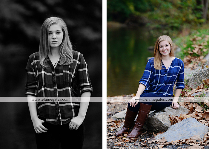 Mechanicsburg Central PA senior portrait photographer outdoor girl female road field fence water stream creek leaves fall hammock wooden swing grass rocks mp 05