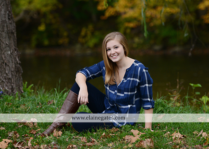 Mechanicsburg Central PA senior portrait photographer outdoor girl female road field fence water stream creek leaves fall hammock wooden swing grass rocks mp 06