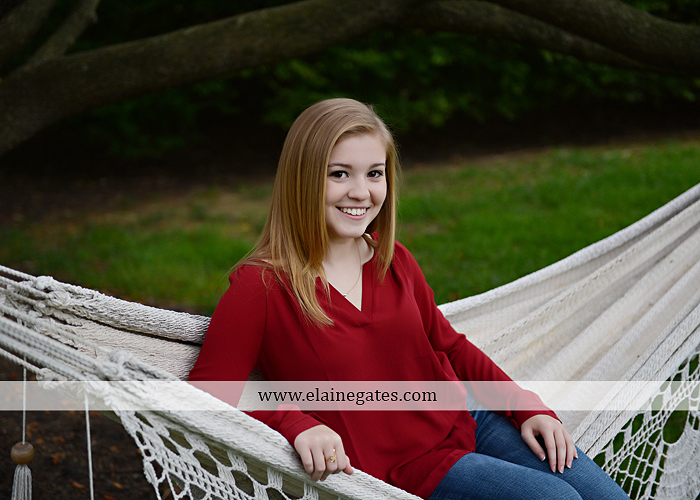 Mechanicsburg Central PA senior portrait photographer outdoor girl female road field fence water stream creek leaves fall hammock wooden swing grass rocks mp 10