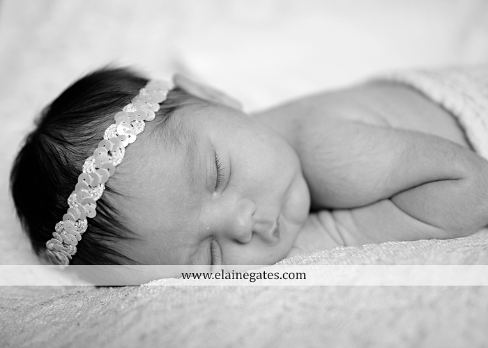 Mechanicsburg Central PA newborn baby portrait photographer girl sleeping indoor blanket sister bow hand fingers feet kiss km 5
