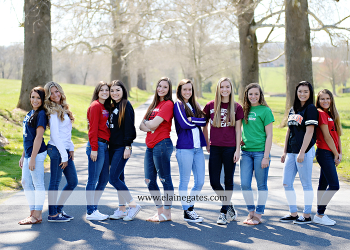 Mechanicsburg Central PA senior portrait photographer outdoor girls females group road log cabin trees stone wall senior models ephs chhs mechanicsburg cumberland valley northern red land trinity 1
