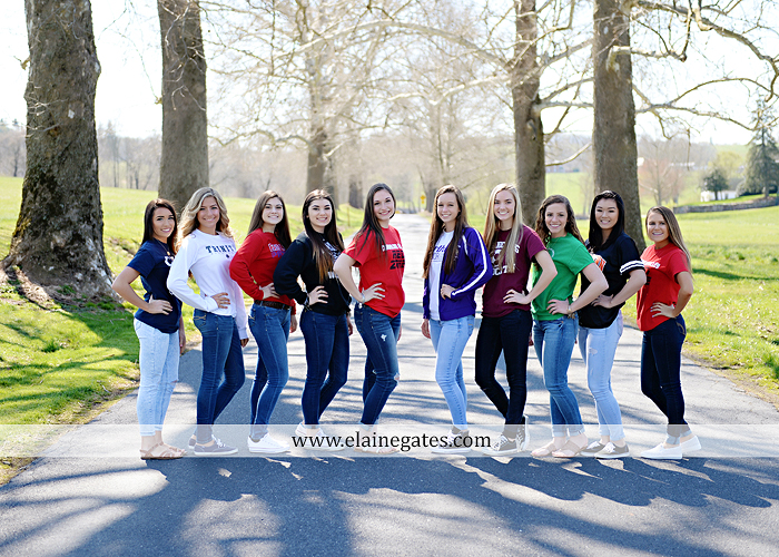 Mechanicsburg Central PA senior portrait photographer outdoor girls females group road log cabin trees stone wall senior models ephs chhs mechanicsburg cumberland valley northern red land trinity 2