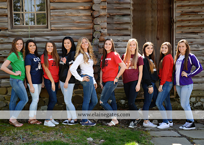Mechanicsburg Central PA senior portrait photographer outdoor girls females group road log cabin trees stone wall senior models ephs chhs mechanicsburg cumberland valley northern red land trinity 3