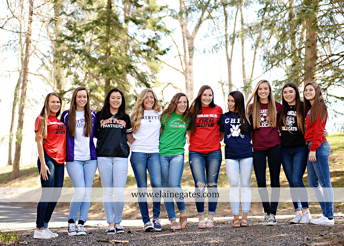 Mechanicsburg Central PA senior portrait photographer outdoor girls females group road log cabin trees stone wall senior models ephs chhs mechanicsburg cumberland valley northern red land trinity 4