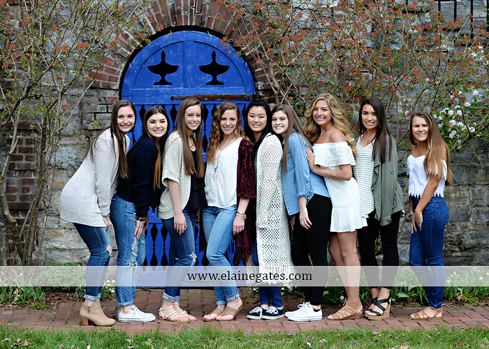 Mechanicsburg Central PA senior portrait photographer outdoor girls females group road log cabin trees stone wall senior models ephs chhs mechanicsburg cumberland valley northern red land trinity 7