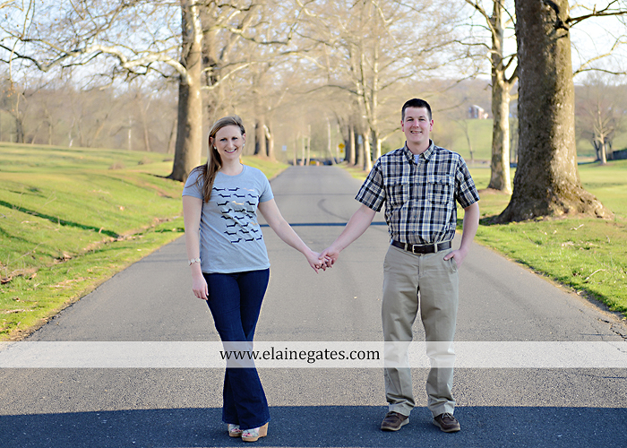 Mechanicsburg Central PA engagement portrait photographer outdoor road fence water steam creek trees sunset motorcycle harley-davidson holding hands kiss cf 01