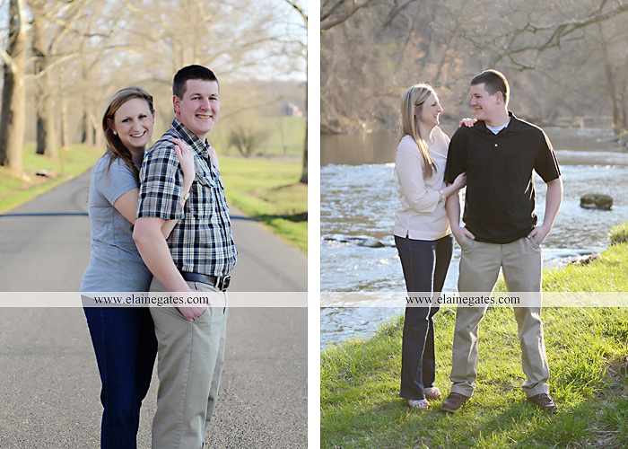 Mechanicsburg Central PA engagement portrait photographer outdoor road fence water steam creek trees sunset motorcycle harley-davidson holding hands kiss cf 03