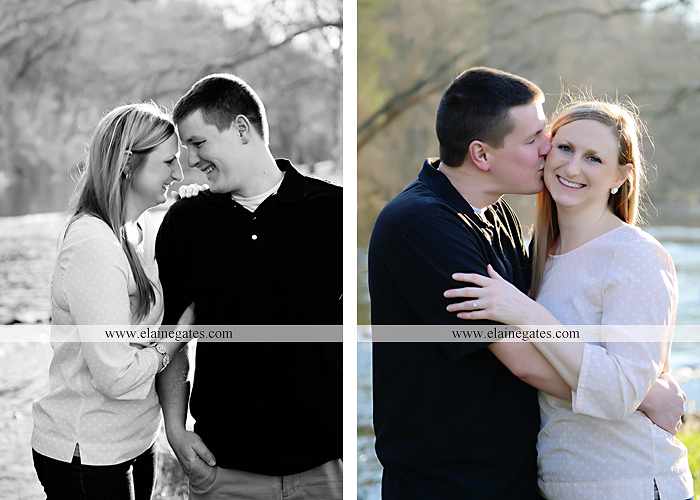 Mechanicsburg Central PA engagement portrait photographer outdoor road fence water steam creek trees sunset motorcycle harley-davidson holding hands kiss cf 04