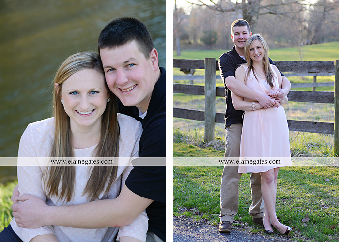 Mechanicsburg Central PA engagement portrait photographer outdoor road fence water steam creek trees sunset motorcycle harley-davidson holding hands kiss cf 07