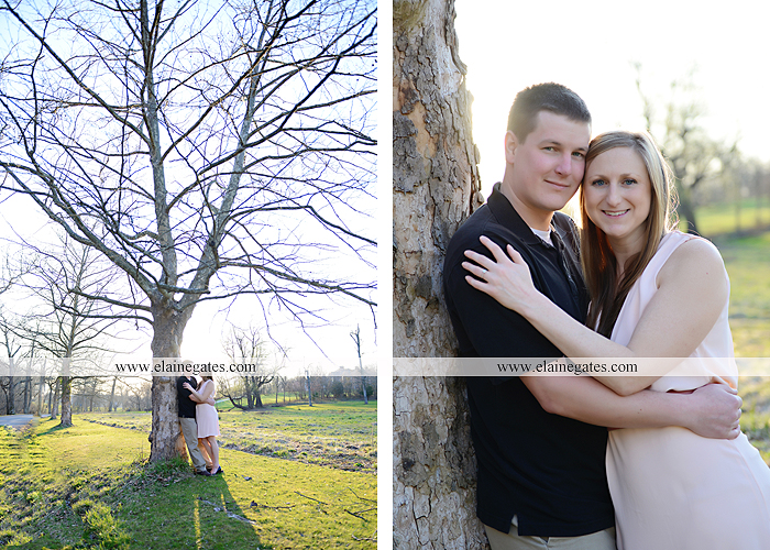 Mechanicsburg Central PA engagement portrait photographer outdoor road fence water steam creek trees sunset motorcycle harley-davidson holding hands kiss cf 08