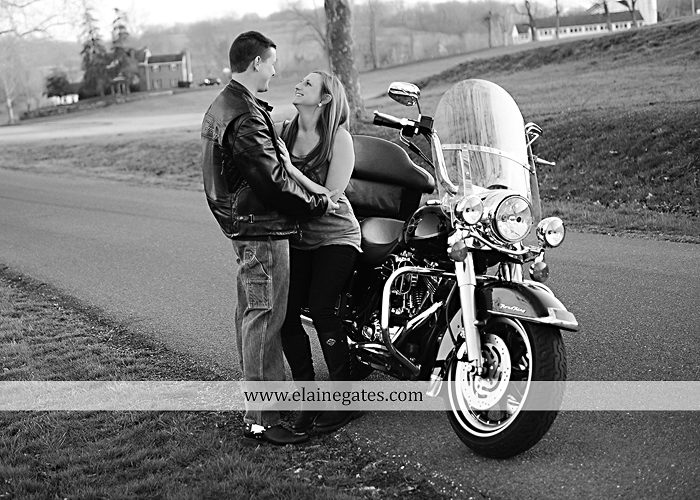 Mechanicsburg Central PA engagement portrait photographer outdoor road fence water steam creek trees sunset motorcycle harley-davidson holding hands kiss cf 10