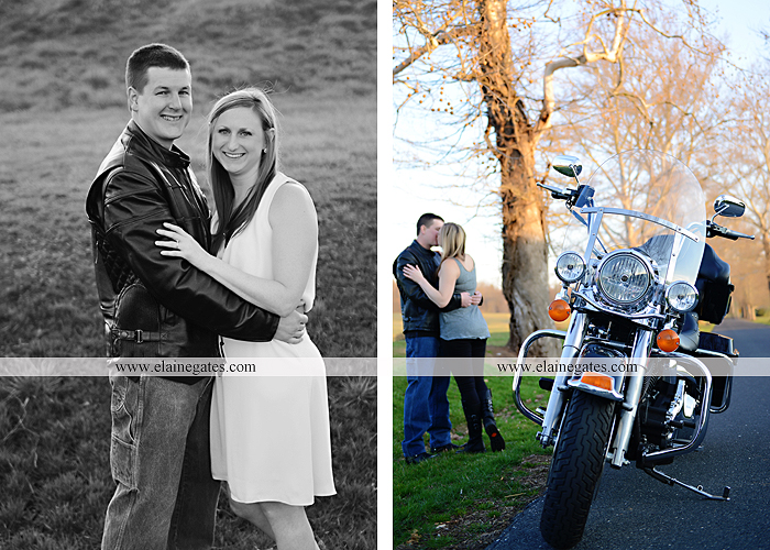 Mechanicsburg Central PA engagement portrait photographer outdoor road fence water steam creek trees sunset motorcycle harley-davidson holding hands kiss cf 11