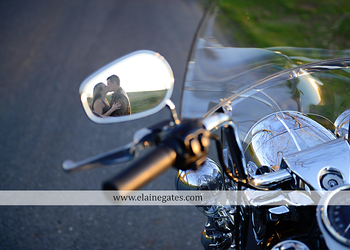 Mechanicsburg Central PA engagement portrait photographer outdoor road fence water steam creek trees sunset motorcycle harley-davidson holding hands kiss cf 12