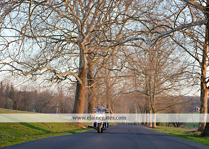 Mechanicsburg Central PA engagement portrait photographer outdoor road fence water steam creek trees sunset motorcycle harley-davidson holding hands kiss cf 13