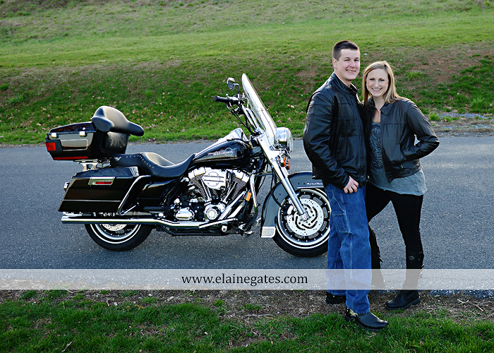 Mechanicsburg Central PA engagement portrait photographer outdoor road fence water steam creek trees sunset motorcycle harley-davidson holding hands kiss cf 14