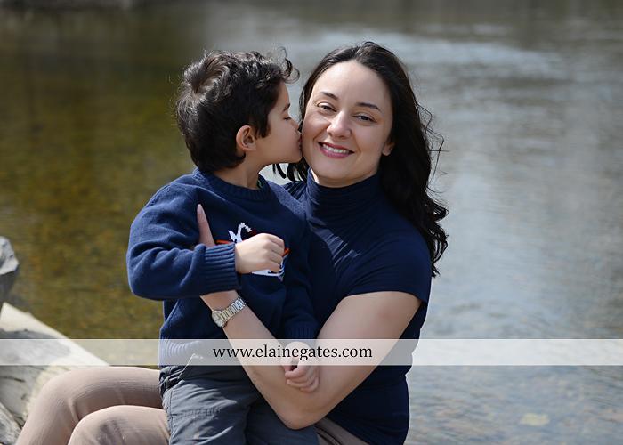 Mechanicsburg Central PA kids children portrait photographer outdoor boy mother grass field water creek stream kiss hug family rocks lh 8