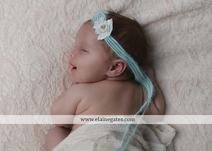 Mechanicsburg Central PA newborn baby portrait photographer girl sleeping indoor blanket bow knit hat pail bowl chair dp 01