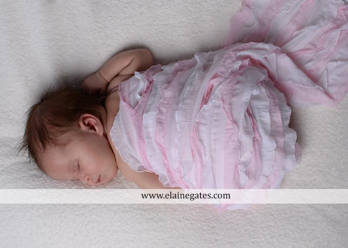 Mechanicsburg Central PA newborn baby portrait photographer girl sleeping indoor blanket bow knit hat pail bowl chair dp 04