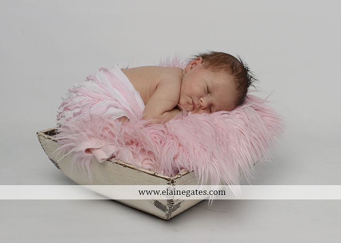 Mechanicsburg Central PA newborn baby portrait photographer girl sleeping indoor blanket bow knit hat pail bowl chair dp 05