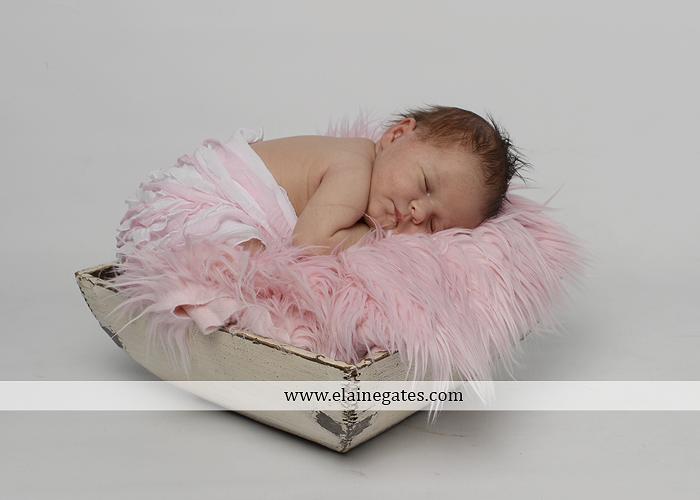 Mechanicsburg Central PA newborn baby portrait photographer girl sleeping indoor blanket bow knit hat pail bowl chair dp 05