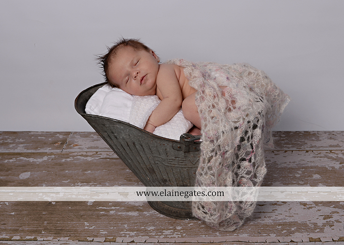 Mechanicsburg Central PA newborn baby portrait photographer girl sleeping indoor blanket bow knit hat pail bowl chair dp 06