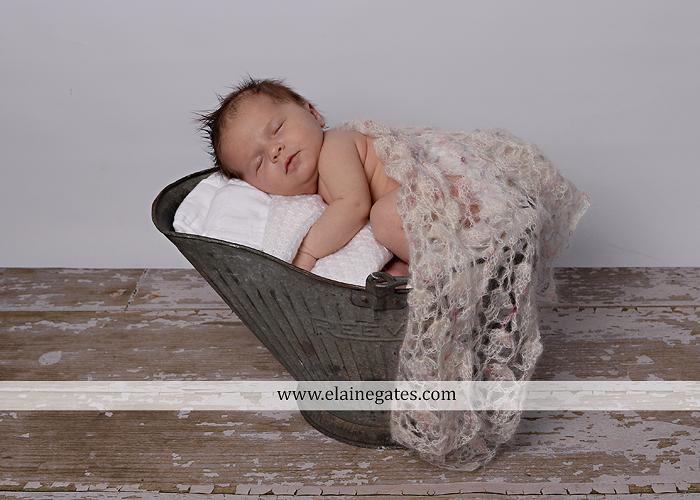 Mechanicsburg Central PA newborn baby portrait photographer girl sleeping indoor blanket bow knit hat pail bowl chair dp 06