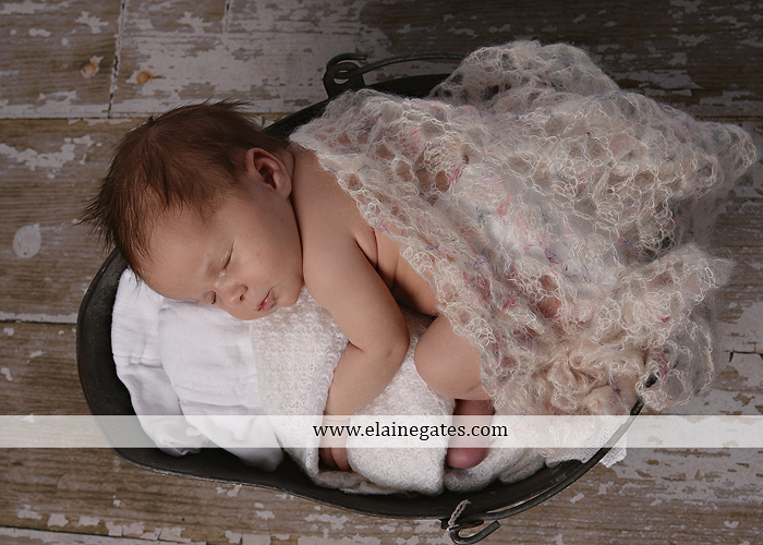 Mechanicsburg Central PA newborn baby portrait photographer girl sleeping indoor blanket bow knit hat pail bowl chair dp 07