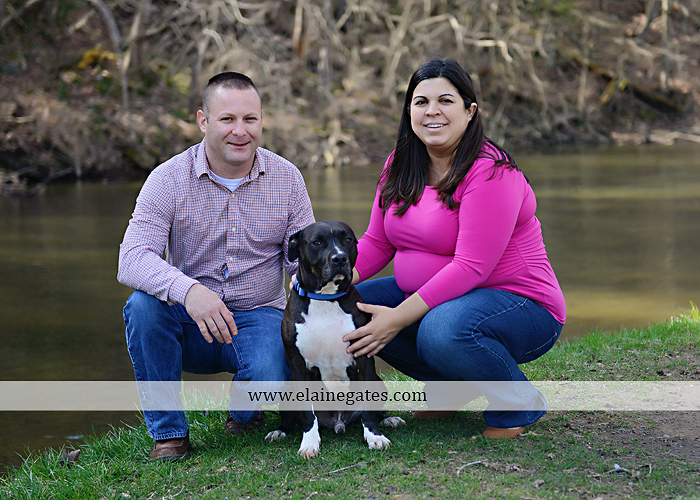 Mechanicsburg Central PA portrait photographer maternity outdoor road field grass trees water stream creek dog holding hands dp 3