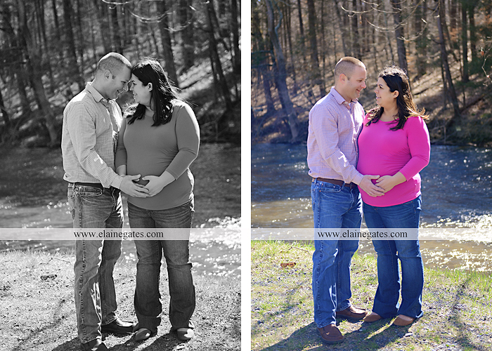 Mechanicsburg Central PA portrait photographer maternity outdoor road field grass trees water stream creek dog holding hands dp 4